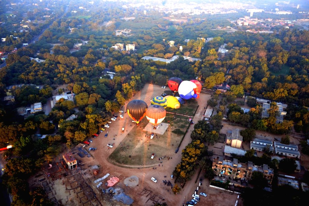 View of the city from a hot air balloon during the hot air balloon festival in Agra on Nov. 26, 2016.