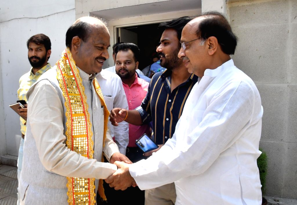 Vijay Goel greets Om Birla, the Bharatiya Janata Party (BJP) MP from Rajasthan, who will be the NDA's nominee for Lok Sabha Speaker's post in New Delhi on June 18, 2019.