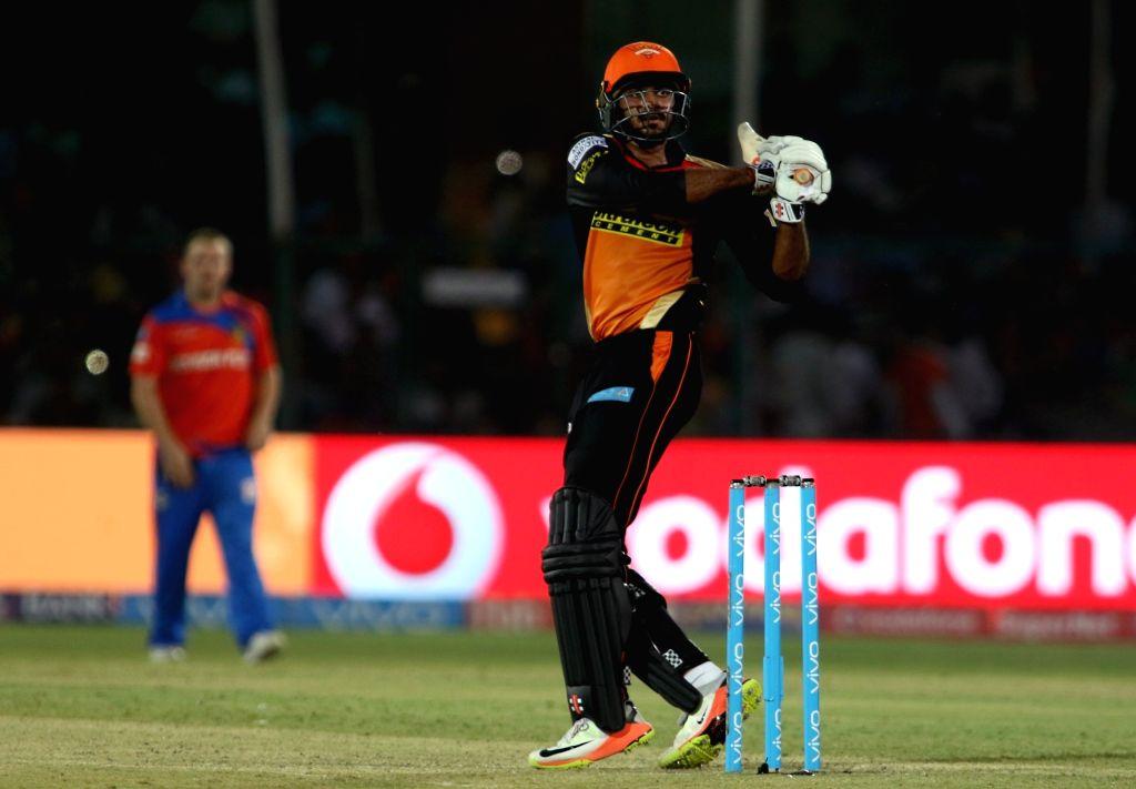 Vijay Shankar of Sunrisers Hyderabad in action during an IPL 2017 match between Gujarat Lions and Sunrisers Hyderabad at Green Park in Kanpur on May 13, 2017.