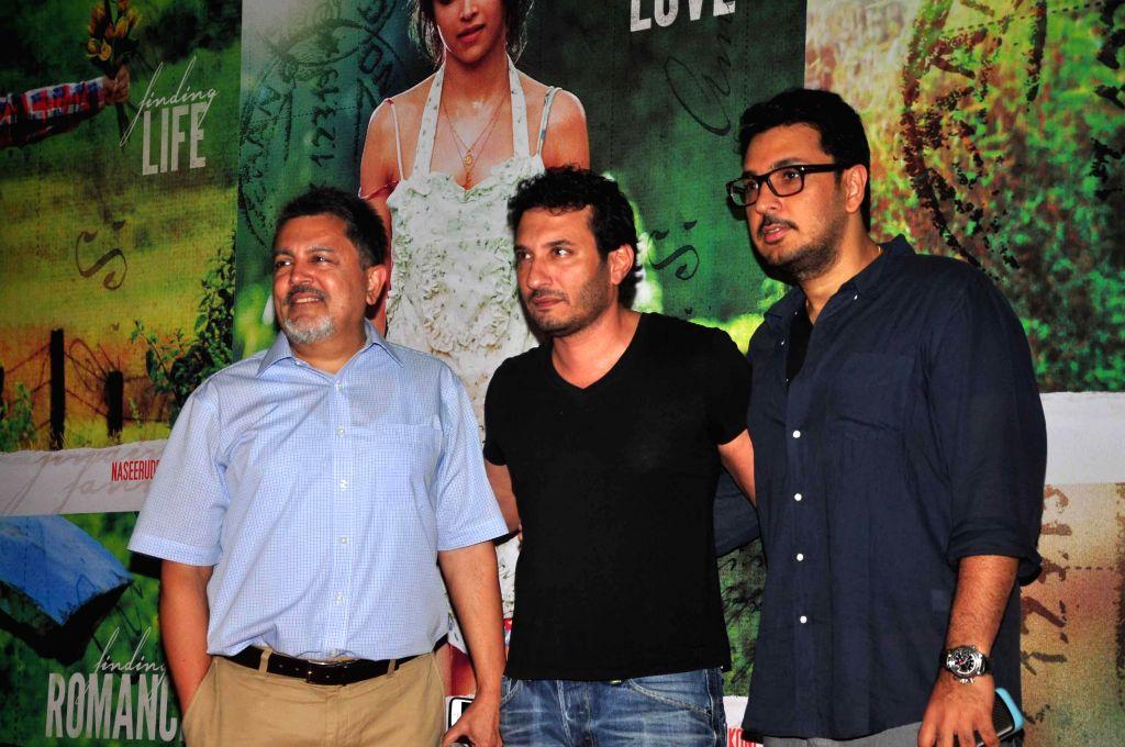 VIjay Singh, filmmaker Homi Adajania and Dinesh Vijan during the screening of film Finding Fanny in Mumbai, on Sep. 01, 2014.