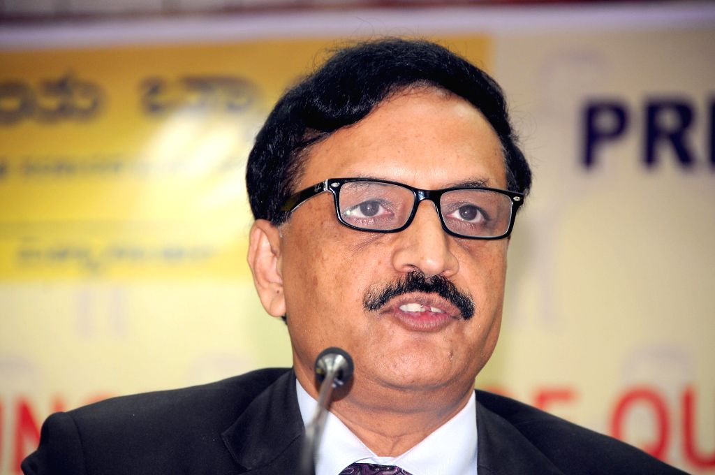 Vijaya Bank Chairman and Managing Director, V Kannan during a press conference to announce Q1 financial results in Bangalore on July 28, 2014.