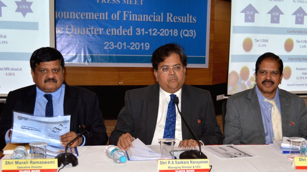 Vijaya Bank MD and CEO RA Sankara Narayanan, Executive Directors Y Nageswara Rao and Murali Ramswami during a press conference in Bengaluru on Jan 23, 2019. - Y Nageswara Rao