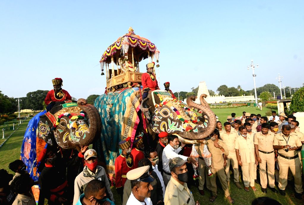 Vijayadashami celebrations underway at Mysuru Palace on Oct 26, 2020.