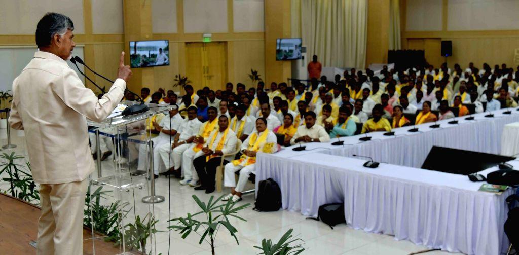 Vijayawada: Andhra Pradesh Chief Minister and Telegu Desam Party (TDP) Chief N Chandrababu Naidu addresses during a party meeting in Vijayawada on Feb 24, 2019. (Photo: IANS) - N Chandrababu Naidu