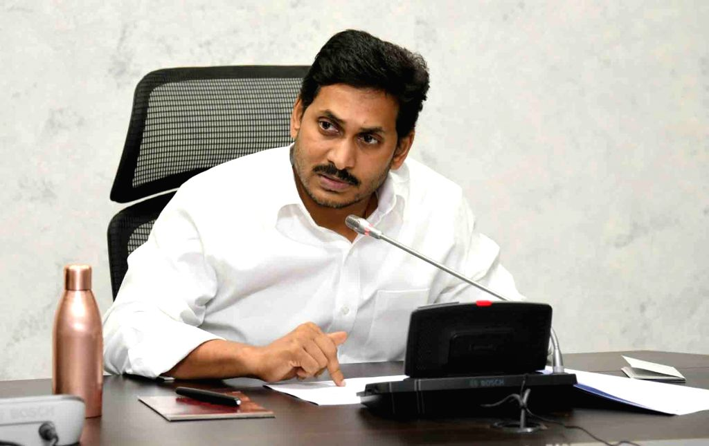 Vijayawada: Andhra Pradesh Chief Minister YS Jagan Mohan Reddy chairs a meeting to review the situation in the state during the extended nationwide lockdown imposed to mitigate the spread of COVID-19 pandemic, in Vijayawada on Apr 15, 2020. (Photo: I - Jagan Mohan Reddy
