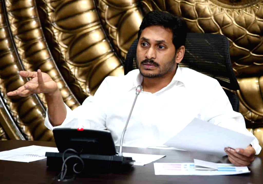 Vijayawada: Andhra Pradesh Chief Minister YS Jagan Mohan Reddy presides over a review meeting on COVID-19 with Cabinet Ministers, chief secretary, health secretary and other officials on Day 5 of the 21-day countrywide lockdown imposed to contain the - Jagan Mohan Reddy