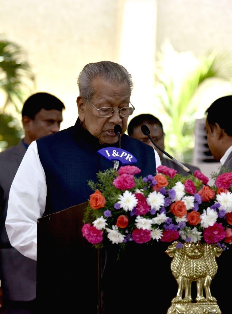 Vijayawada: Biswa Bhushan Harichandan takes oath as Andhra Pradesh Governor at a swearing-in ceremony at Raj Bhavan in Vijayawada, on July 24, 2019. (Photo: IANS)