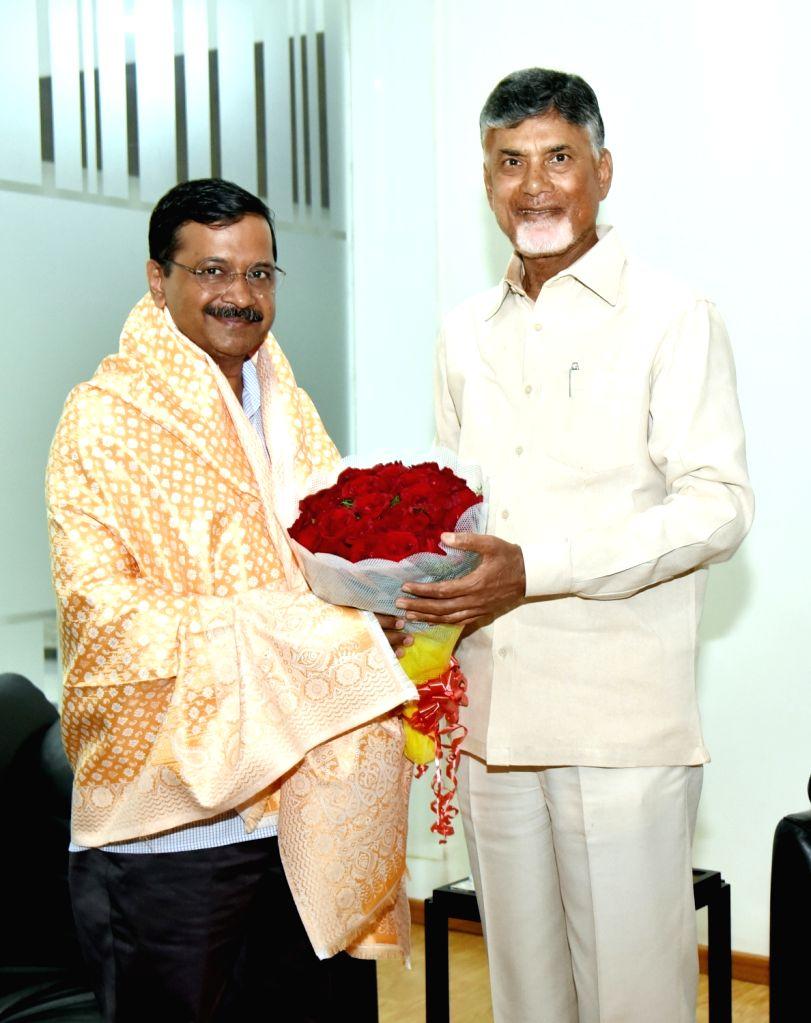 Vijayawada: Delhi Chief Minister Arvind Kejriwal meets Andhra Pradesh Chief Minister N. Chandrababu Naidu in Vijayawada on Feb 18, 2019. (Photo: IANS) - Arvind Kejriwal and N. Chandrababu Naidu