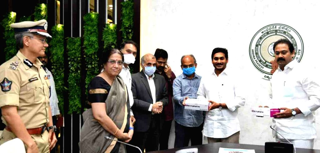 Vijayawada: One lakh rapid testing kits that reached Andhra Pradesh from South Korea being handed over to Chief Minister YS Jagan Mohan Reddy at the Chief Minister's Office in Vijayawada amid the extended nationwide lockdown imposed to mitigate the s - Jagan Mohan Reddy