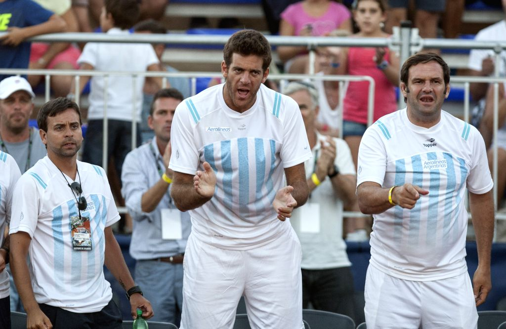Argentina's Juan Martin del Potro (C) supports his teammate Federico Delbonis during the Davis Cup World Group first round singles match against Brazil's ...