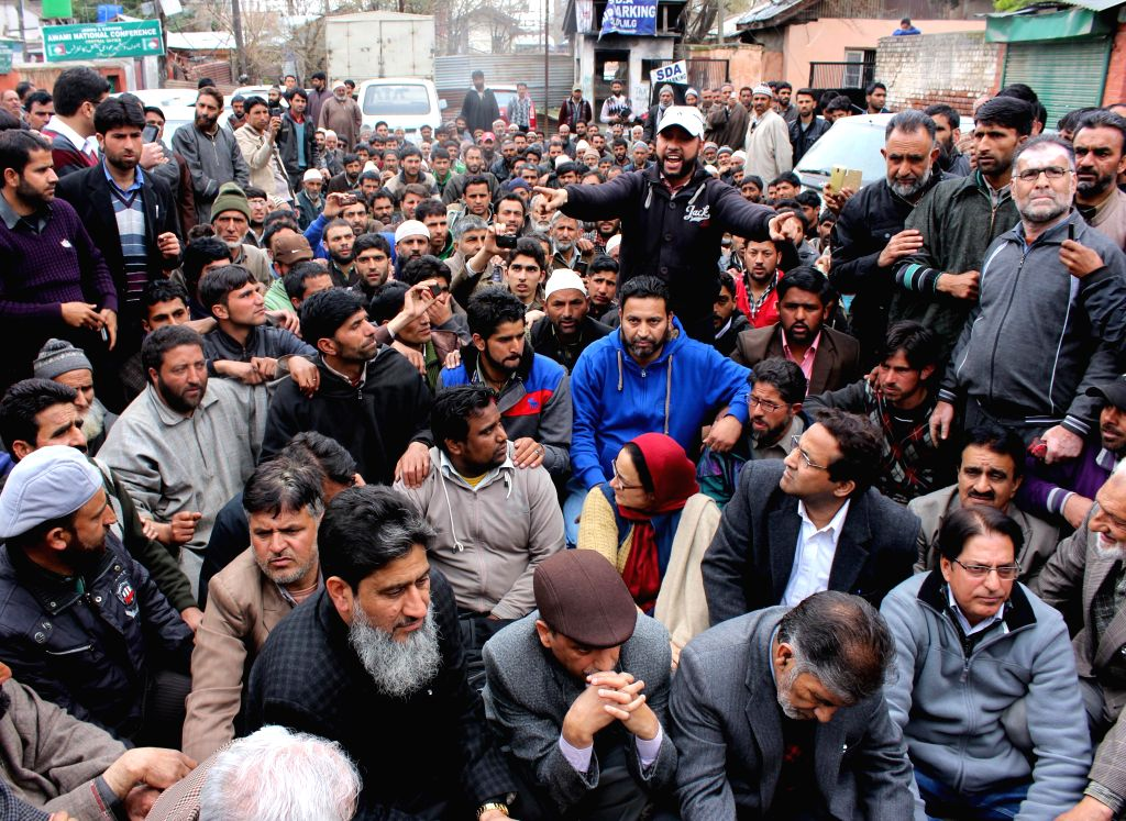 Villagers demonstrate to demand shifting of firing range located in  Tosa Maidan - a huge meadow in the foothills of Pir Panjal range in Jammu and Kashmir's Budgham district, in Srinagar on April 16,
