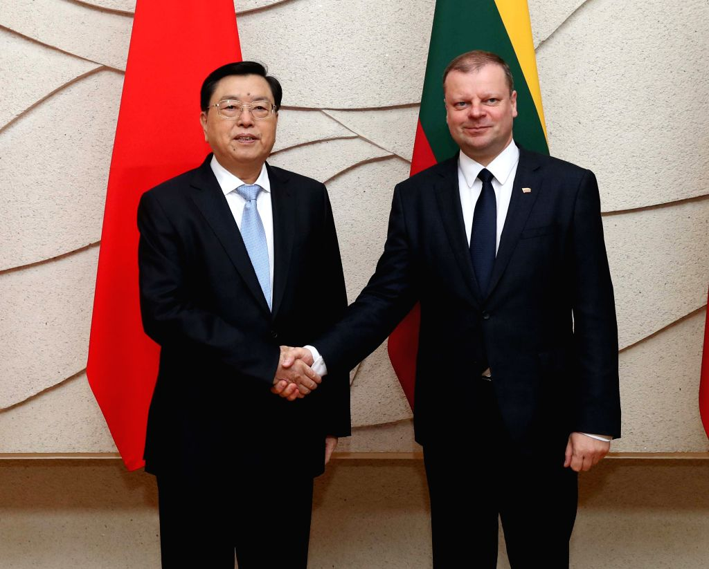 VILNIUS, April 16, 2017 - Zhang Dejiang (L), chairman of the Standing Committee of China's National People's Congress, meets with Lithuanian Prime Minister Saulius Skvernelis in Vilnius, capital of ... - Saulius Skvernelis