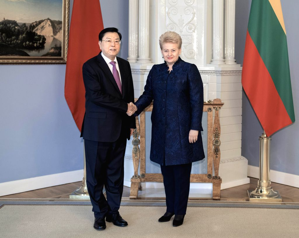 VILNIUS, April 16, 2017 - Zhang Dejiang (L), chairman of the Standing Committee of China's National People's Congress, meets with Lithuanian President Dalia Grybauskaite in Vilnius, capital of ...