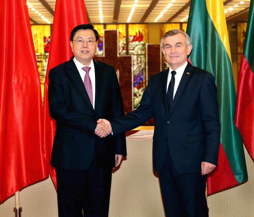 VILNIUS, April 16, 2017 - Zhang Dejiang (L), chairman of the Standing Committee of China's National People's Congress, holds talks with Speaker Viktoras Pranckietis of Seimas, the Lithuanian ... - Viktoras Pranckietis