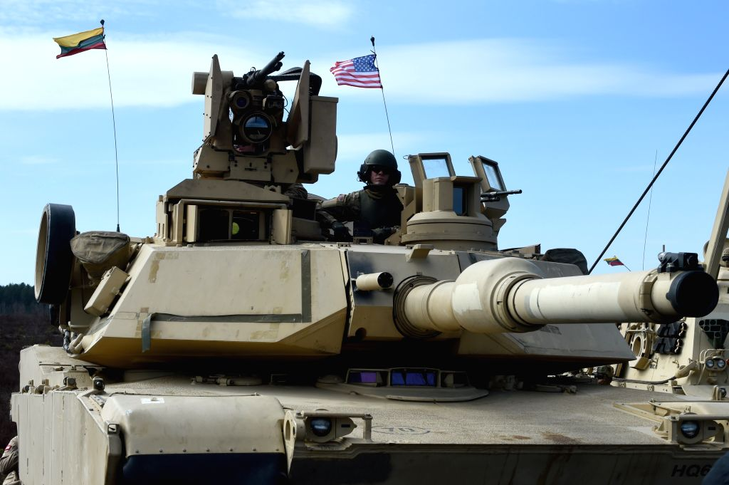 A tank of U.S. troops stationed in Lithuania is seen during tank live-fire drills in Pabrade, Lithuania, on April 9, 2015. U.S. troops stationed in Lithuania held ...
