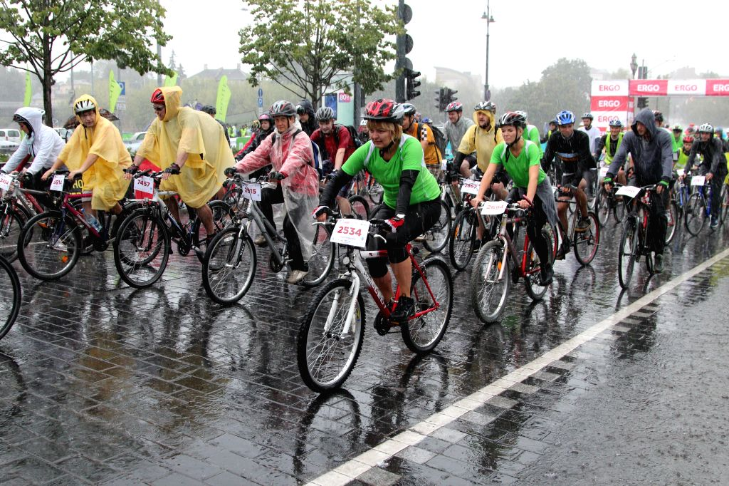 Cycling lovers take part in the velomarathon in Vilnius, Lithuania, on Aug 24, 2014. The annual velomarathon starting from 2010 includes three groups for children, .