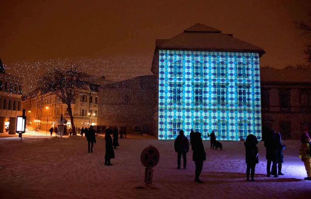 VILNIUS, Jan. 26, 2019 - Photo taken on Jan. 25, 2019 shows a view of the Vilnius Festival of Light in Vilnius, Lithuania.