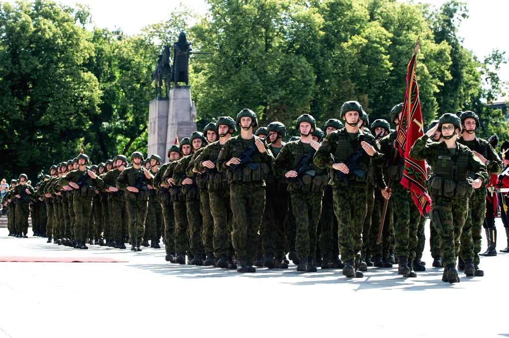 VILNIUS, July 26, 2019 - Lithuanian soldiers attend the inauguration ceremony of Lithuania's new Chief of Defense in Vilnius, Lithuania, July 25, 2019. Lithuania's new Chief of Defense Major General ...
