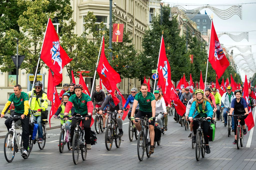 VILNIUS, July 6, 2017 - People ride bicyles to celebrate the Statehood Day in Vilnius, Lithuania, July 6, 2017. The Statehood Day is an annual public holiday in Lithuania celebrated on July 6 to ...