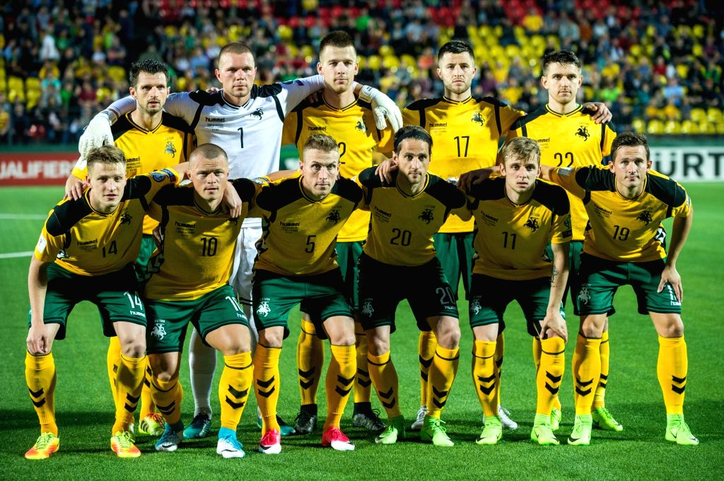 VILNIUS, June 11, 2017 - Players of Lithuania pose for a group photo before the FIFA World Cup European Qualifying Group F match between Lithuania and Slovakia at LFF Stadium in Vilnius, Lithuania on ...
