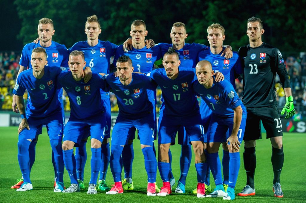 VILNIUS, June 11, 2017 - Players of Slovakia pose for a group photo before the FIFA World Cup European Qualifying Group F match between Lithuania and Slovakia at LFF Stadium in Vilnius, Lithuania on ...