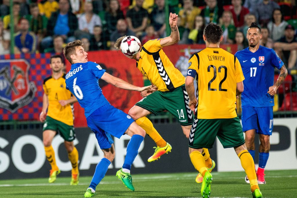 VILNIUS, June 11, 2017 - Vykintas Slivka (C) of Lithuania competes during the FIFA World Cup European Qualifying Group F match between Lithuania and Slovakia at LFF Stadium in Vilnius, Lithuania on ...