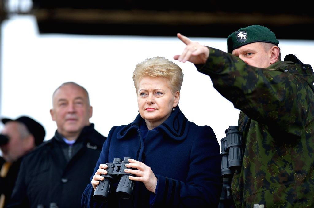 "Lithuanian President Dalia Grybauskaite (C) views the ""Iron Sword 2014"" military exercise in Pabrade, Lithuania, on Nov. 13, 2014. The multinational military exercise ""Iron ..."