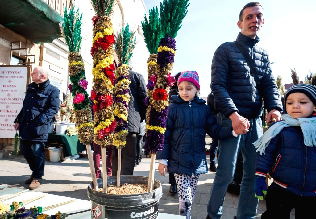 VILNIUS, March 25, 2018 - Palm products are seen on Palm Sunday in Vilnius, Lithuania, on March 25, 2018. Palm Sunday is a Christian feast that falls on the Sunday before Easter and marks the ...