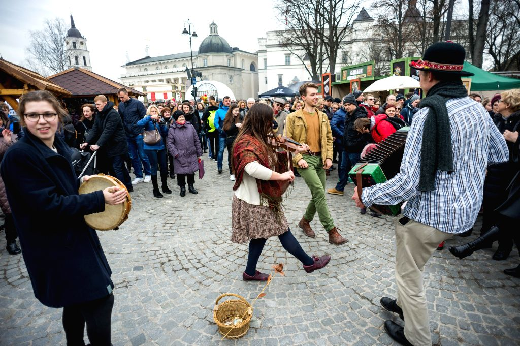 VILNIUS, March 4, 2017 - People perform on the Kaziukas Fair in Vilnius, Lithuania, on March 4, 2017. Lithuania holds a three-day celebration for the 400-year-old Kaziukas Fair from Friday till ...