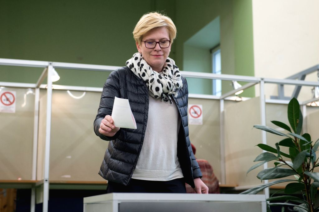 VILNIUS, May 12, 2019 - Lithuania's former Finance Minister and presidential candidate Ingrida Simonyte casts her vote at a polling station in Vilnius, Lithuania, on May 12, 2019. The presidential ... - Saulius Skvernelis