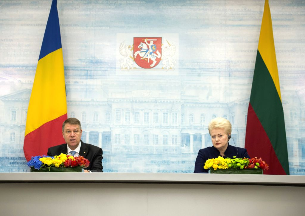 VILNIUS, May 18, 2016 - Lithuanian President Dalia Grybauskaite (R) and Romanian President Klaus Iohannis attend a press conference in Vilnius, Lithuania, May 18, 2016. Lithuanian President Dalia ...
