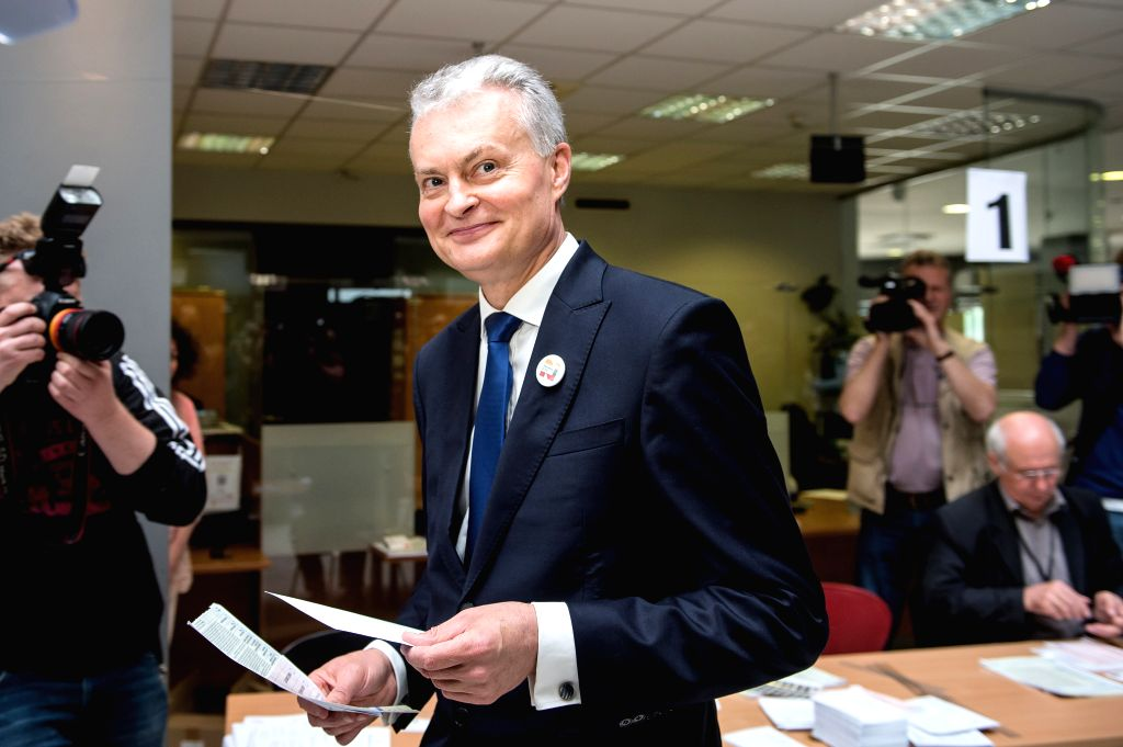 VILNIUS, May 24, 2019 - Economist and independent candidate Gitanas Nauseda casts his vote in Vilnius, Lithuania, May 24, 2019. Advance voting in the Lithuanian presidential runoff and the European ...