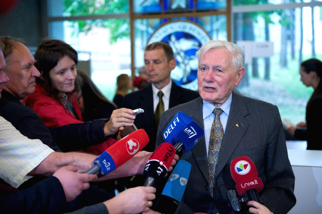 VILNIUS, May 26, 2019 - Former Lithuanian President Valdas Adamkus speaks to media after voting at a polling station in Vilnius, Lithuania, May 26, 2019. The presidential runoff kicked off in ... - Ingrida Simonyte