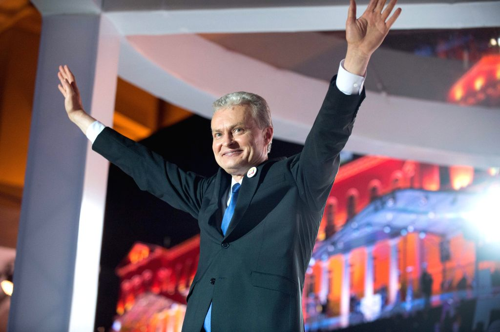 VILNIUS, May 27, 2019 - Gitanas Nauseda celebrates his victory in the Lithuanian presidential runoff in Vilnius, Lithuania, May 26, 2019. Gitanas Nauseda won Lithuania's presidential election, ...