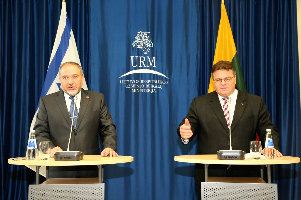 Israel's foreign minister Avigdor Liberman (L) and Lithuania's foreign minister Linas Linkevicius attend a joint press conference in Vilnius, Lithuania, on Sept. ...