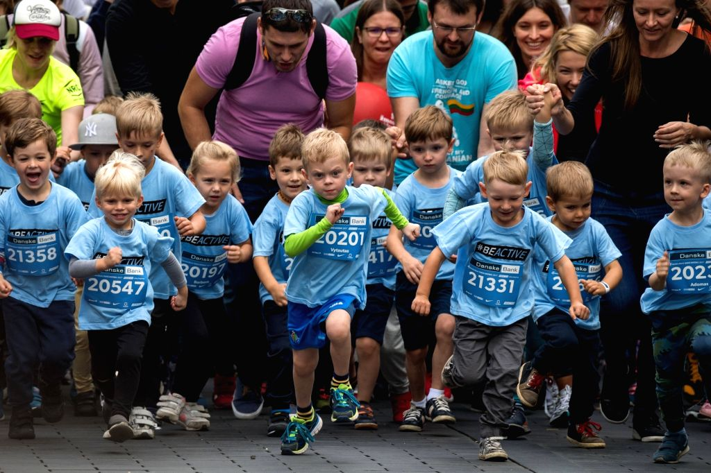 VILNIUS, Sept. 11, 2017 - Kids start off during the Vilnius Marathon 2017 in Vilnius, Lithuania, Sept. 10, 2017. Around 15,000 runners from more than 50 countries and areas attended Vilnius Marathon ...