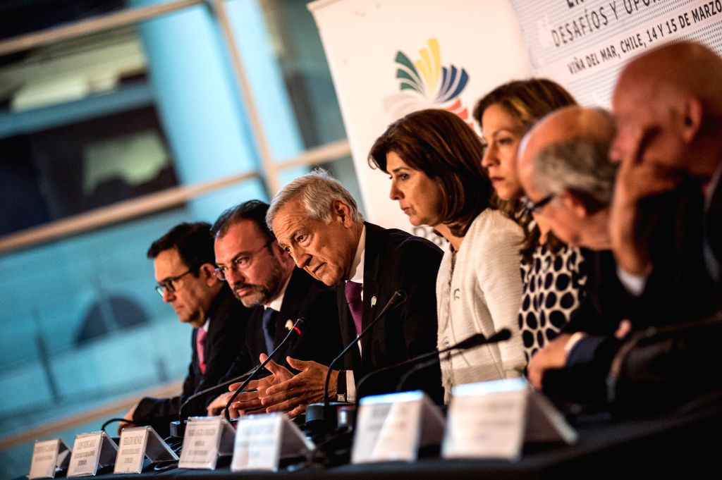 VINA DEL MAR, March 15, 2017 - Chilean Foreign Minister Heraldo Munoz (3rd L) addresses a press conference at the High-Level Dialogue on Integration Initiatives in the Asia-Pacific: Challenges and ... - Heraldo Munoz