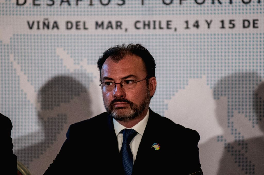 VINA DEL MAR, March 15, 2017 - Mexican Foreign Minister Luis Videgaray attends a press conference at the High-Level Dialogue on Integration Initiatives in the Asia-Pacific: Challenges and ... - Luis Videgaray