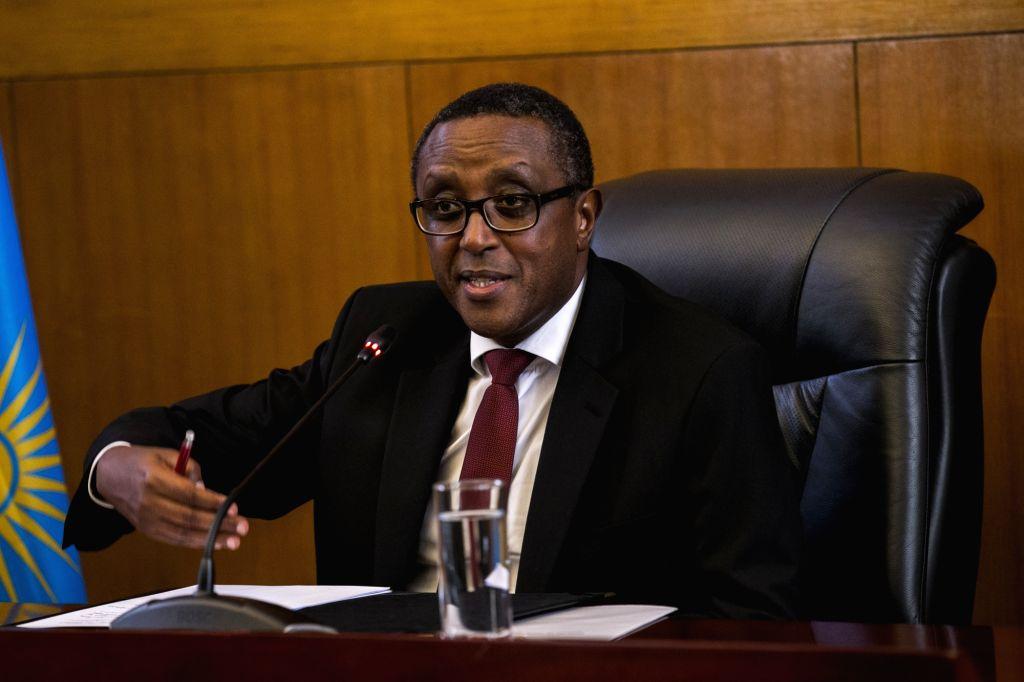 Vincent Biruta, Rwanda's minister of foreign affairs and international cooperation, addresses a press conference in Kigali, Rwanda on Jan. 8, 2020. Rwanda on ...