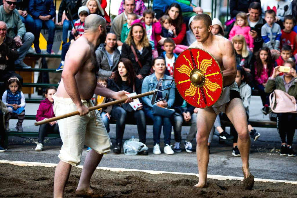 VINKOVCI, June 1, 2019 - Performers re-enact an ancient gladiator's battle during the Roman Days event in Vinkovci, Croatia, May 31, 2019.