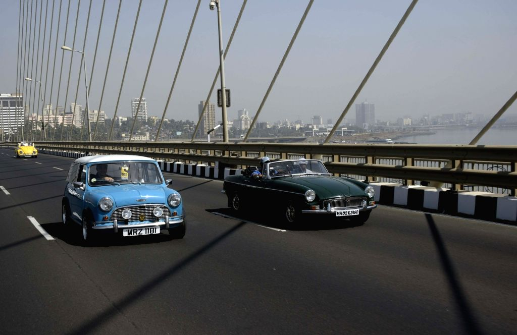 Vintage cars participate in a car rally in Mumbai on Feb 10, 2019.