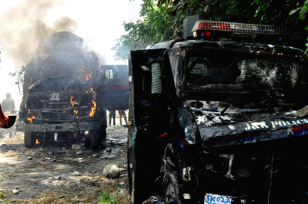 Violent protesters set on fire two police vehicles at Aaripal Village in Tral, after a non-local militant was killed in an encounter with forces in Tral  District Pulwama of Jammu and Kashmir on July