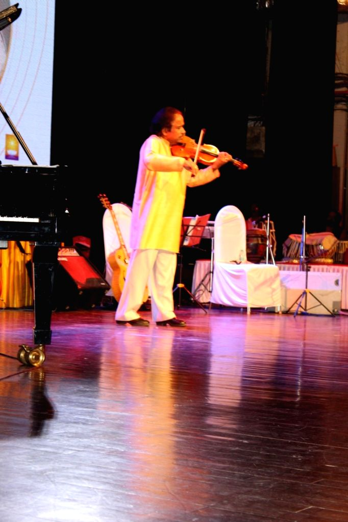 Violinist Dr. L. Subramaniam performs during the 25th Laxminarayana Global Music in Mumbai on Jan 13, 2017.