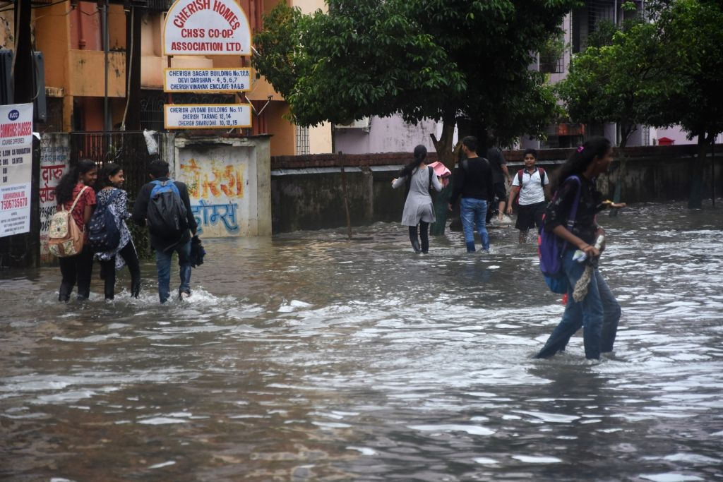 Virar: A view of flooded streets of Virar in Maharashtra on Aug 3, 2019. (Photo: IANS)