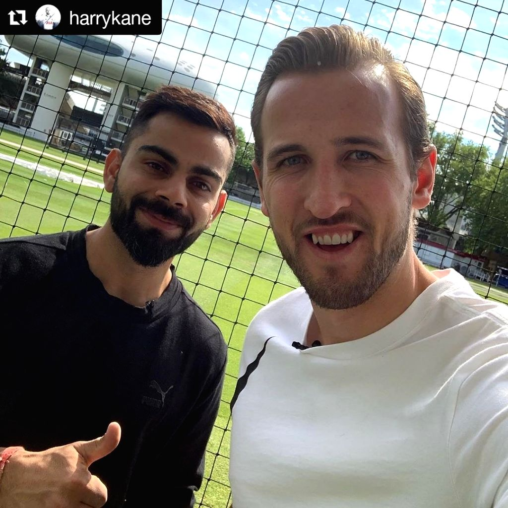 Virat Kohli and Harry Kane sent sports fans into a frenzy when they posted a selfie together at the Lord's Cricket Ground on Friday. Kohli is currently in England as Team India gears up for the 2019 World Cup. (Photo: Twitter/@imVkohli) - Virat Kohli