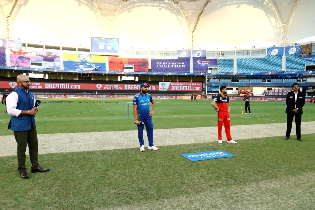 Virat Kohli captain of Royal Challengers Bangalore and Rohit Sharma captain of Mumbai Indians at the toss during match 10 of season 13 of the Dream 11 Indian Premier League (IPL) between The ... - Virat Kohli and Rohit Sharma