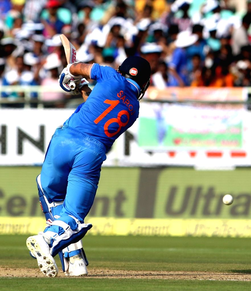 Virat Kohli of India in action during the fifth ODI match between India and New Zealand at Dr. Y.S. Rajasekhara Reddy ACA-VDCA Cricket Stadium in Visakhapatnam on Oct 29, 2016. - Virat Kohli