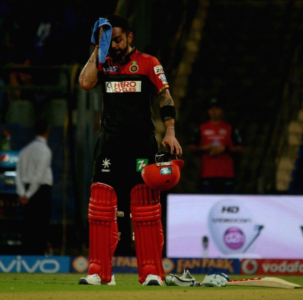 Virat Kohli of Royal Challengers Bangalore during IPL match between  Mumbai Indians and Royal Challengers Bangalore at Wankhede Stadium in Mumbai on April 20, 2016. - Virat Kohli