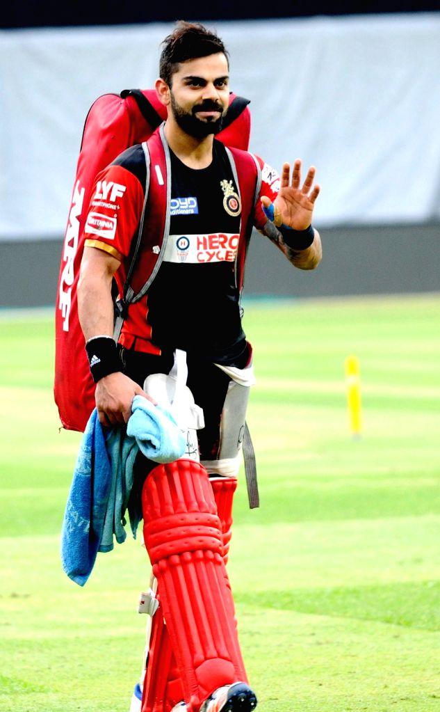 Virat Kohli of Royal Challengers Bangalore during a practice session at M Chinnaswamy Stadium in Bengaluru, on May 27, 2016. - Virat Kohli