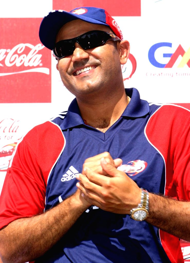Virender Sehwag at the special send off for the Delhi Daredevils team for the IPL 2nd Season, in New Delhi on Saturday 11 April 2009.